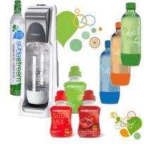 SODASTREAM - machine à gazéifier l'eau avec 1 cylindre et 4 bouteilles dont 3 colorées, + 3 concentrés - pack sodacoolt