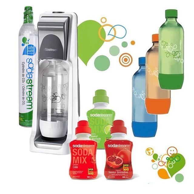 SODASTREAM machine à gazéifier l'eau avec 1 cylindre et 4 bouteilles dont 3 colorées, + 3 concentrés - pack sodacoolt