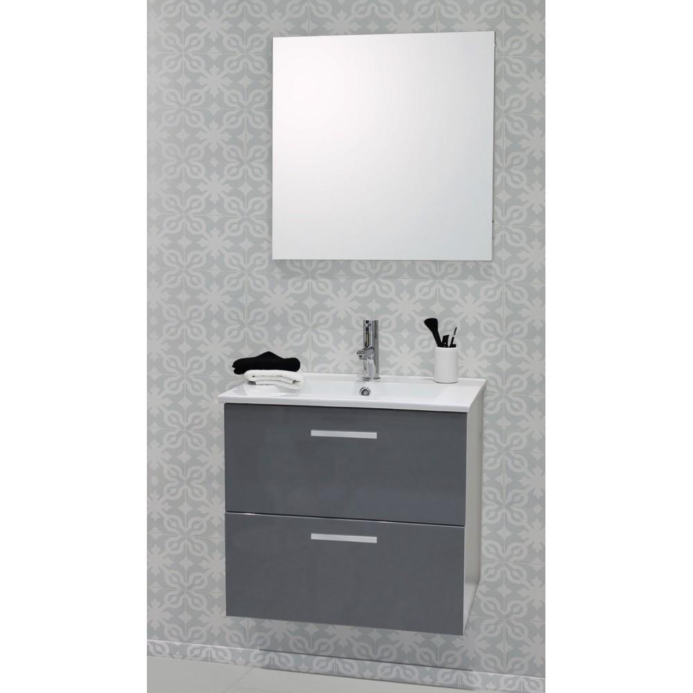 Caisson de meuble de salle de bain modulable Malea 60cm gris + spot