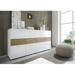 envie de meubles buffet blanc laqu et bois miel liona pas cher achat vente buffets. Black Bedroom Furniture Sets. Home Design Ideas
