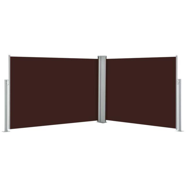Vidaxl Auvent latéral rétractable Marron 100 x 1000 cm