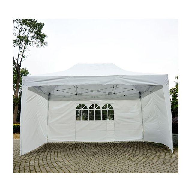 homcom tonnelle tente de reception pliante pavillon chapiteau barnum 3x4 5m blanc cotes. Black Bedroom Furniture Sets. Home Design Ideas