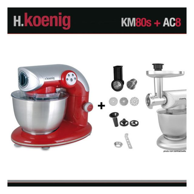 HKOENIG Robot pétrin KM80 S Rouge + Accessoires AC8 Koenig 1000W
