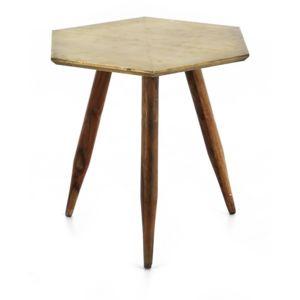 Zago - Table d'appoint hexagonale en bois finition métal vieilli Coppen - Laiton 0cm x 0cm x 0cm