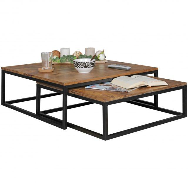 COMFORIUM Lot de 2 tables gigognes en bois massif et métal coloris sheesham et noir