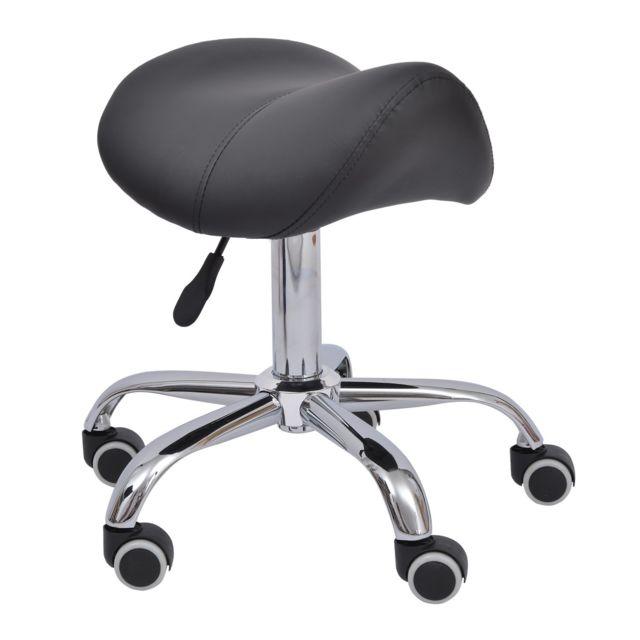 homcom tabouret de massage tabouret selle ergonomique pivotant 360 hauteur r glable simili. Black Bedroom Furniture Sets. Home Design Ideas