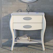 Stylo - Meuble sur pieds 80cm 2 tiroirs Classic Blanc + vasque céramique