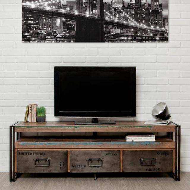 Meuble Tv En Teck Industriel 3 Tiroirs Loft 160cm Marron