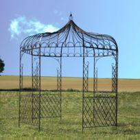 Gloriette Tonnelle en Fer de Jardin Ronde Marron ø250 cm Pergola