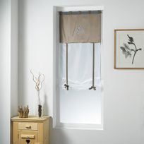 Fred Olivier - Store droit 60x150cm Shantung brodé Bucolique lin