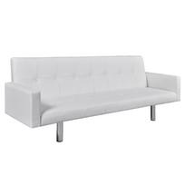 Superbe Canapé lit en cuir artificiel blanc avec accoudoirs neuf