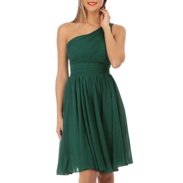 LAMODEUSE Robe asymétrique vert drapée