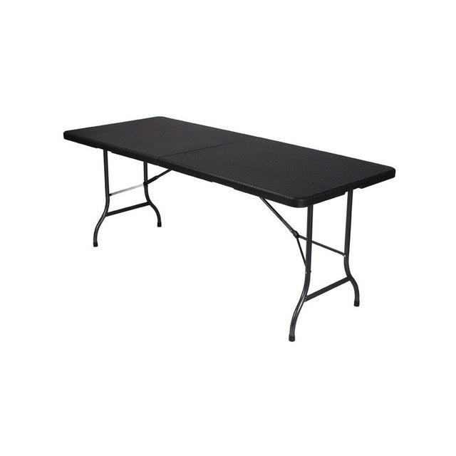 perel table pliante imitation rotin 180 x 75 x 74 cm pas cher achat vente accessoires. Black Bedroom Furniture Sets. Home Design Ideas