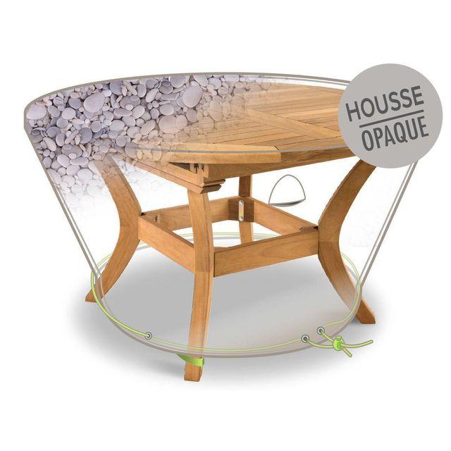 JARDIDECO Housse de protection pour table ronde Ø120 x 50 cm galets