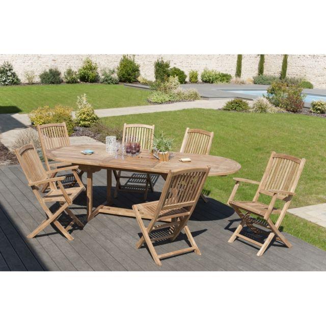 Salon de jardin en teck grade A, comprenant 1 table ovale 180 240/100 cm +  2 lots de 2 chaises lombock et 1 lot de 2 fauteuils lombock