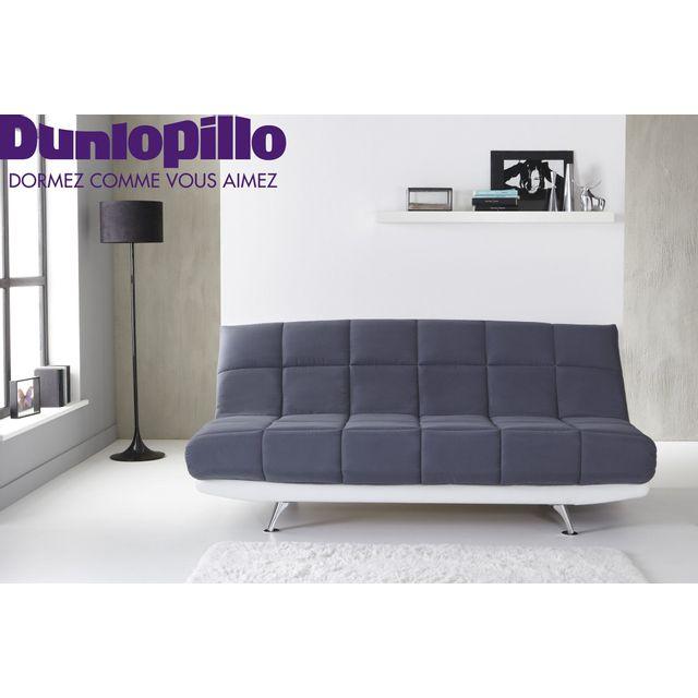 RELAXIMA - Banquette lit Clic Clac Gris COCCON - Matelas mémoire de forme Dunlopillo 110cm x 194cm x 99cm
