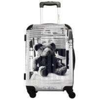 Ikase - Valise Lulu Castagnette - Black & White - Impression Multicouleurs - 50 cm Rose