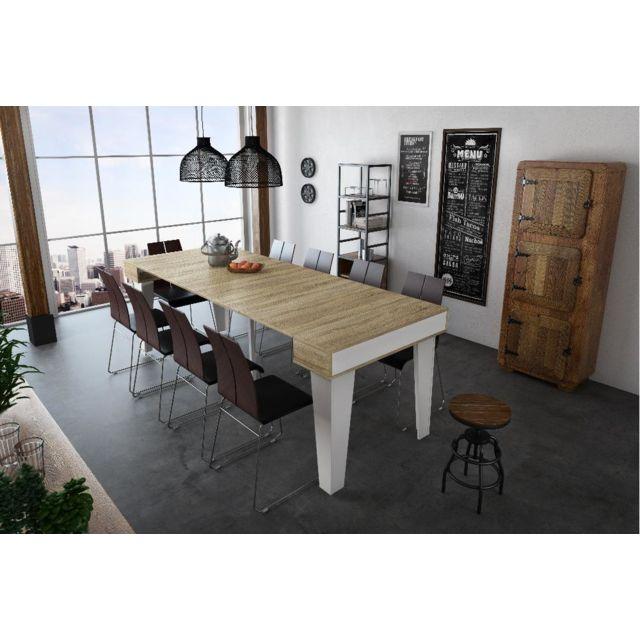 Chêne 237cm nordic Kl Console Brossé rallonges blanc Table Extensible Mat Max KTJlFc1