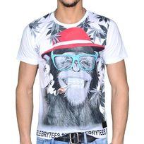 Celebrytees - Celebry Tees - T Shirt Manches Courtes - Homme - Monkey Miami - Blanc