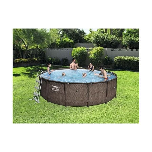 BESTWAY - Kit Piscine tubulaire Ronde Power Steel Frame Pools - D. 4.27 x h 1.07 m
