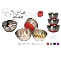 Lily cook - Lot 3 bols patissiers en metal et silicone kp5012