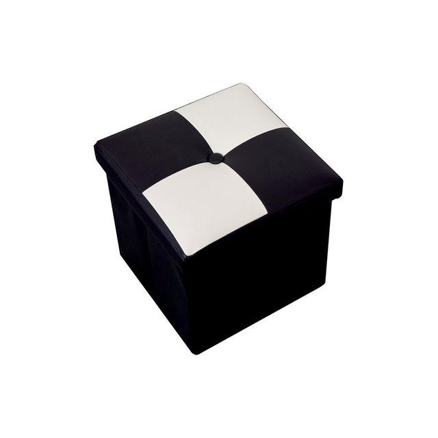 Mobili Rebecca Pouf Coffre De Rangement Carre Synthetique Blanc Noir Contemporain 30x30x30 Pas Cher Achat Vente Poufs Rueducommerce