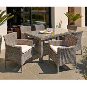 Dcb Garden - Salon de jardin 6 places : table résine tressée ...