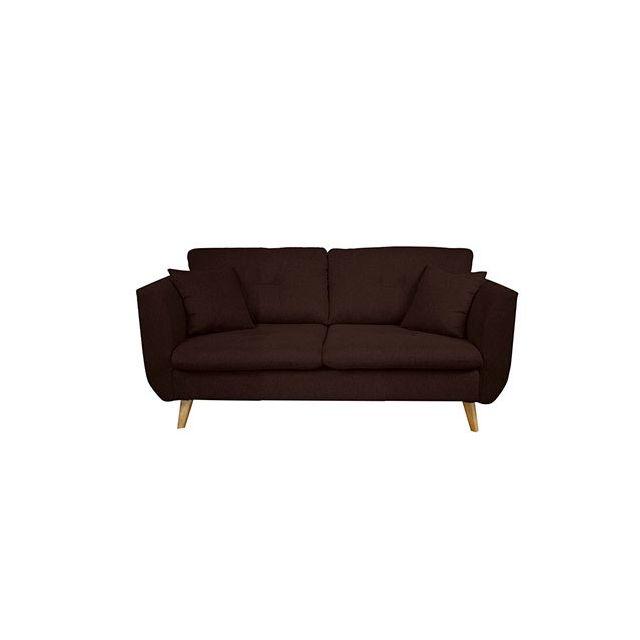 Canapé 2 places fixe en tissu marron - Galton