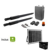 Kit motorisation de portail solaire à 2 battants