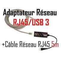 Cabling - adaptateur Usb mâle vers connecteur Rj45 v3 Gigabit + Cable ethernet Rj45 Cat6 5 mètres