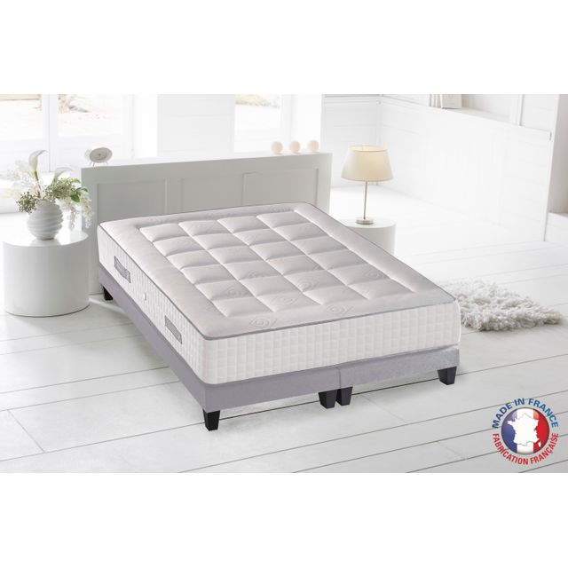lovea ensemble matelas ressort 7 zones sommier 160x200 palacio blanc pas cher achat. Black Bedroom Furniture Sets. Home Design Ideas