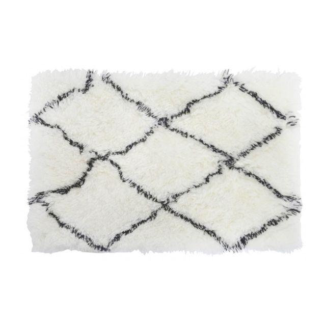 Wadiga Tapis Descente De Lit Style Berbere Polyester Noir Et Blanc