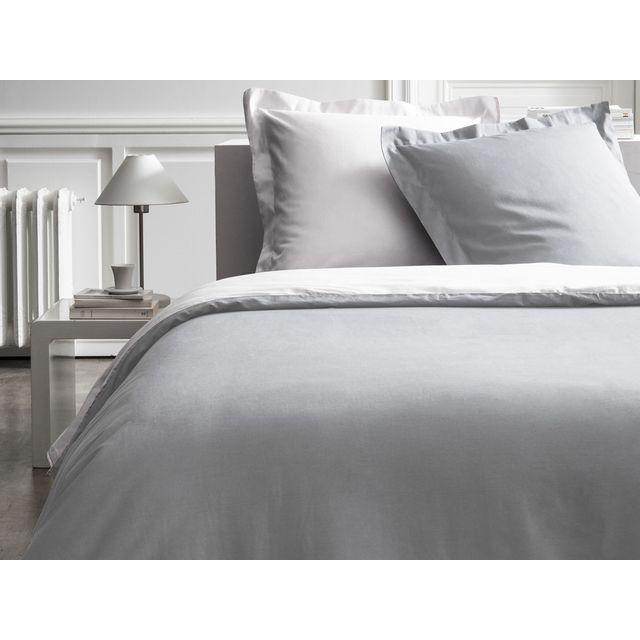 Today parure de lit 240x220 housse de couette bicolore gris et blanc aquarelle pas cher - Parure de lit gris et blanc ...