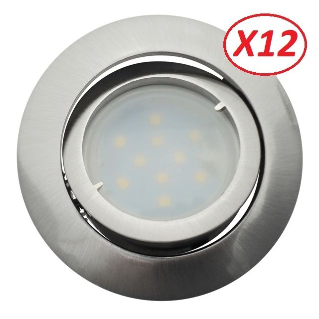 Eurobryte Lot de 12 Spot Led Encastrable Complete Satin Orientable lumière Blanc Neutre eq. 50W ref.895