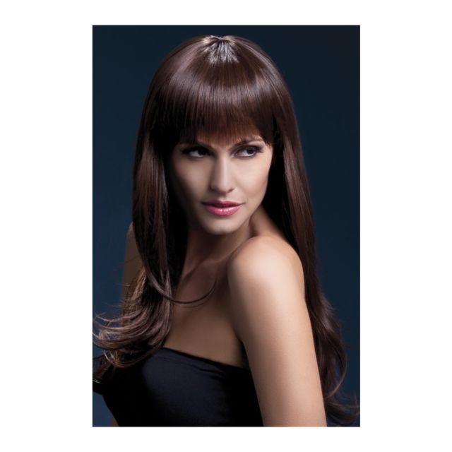 Perruque brune avec frange effilée - pas
