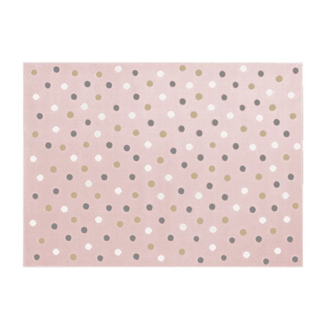 Lorena Canals Tapis Bebe Dots Multi Fond Rose Couleur Rose