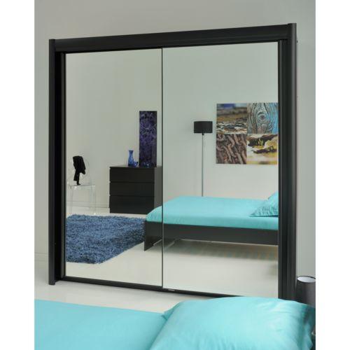 declikdeco armoire avec portes coulissantes miroir terra pas cher achat vente rangements. Black Bedroom Furniture Sets. Home Design Ideas
