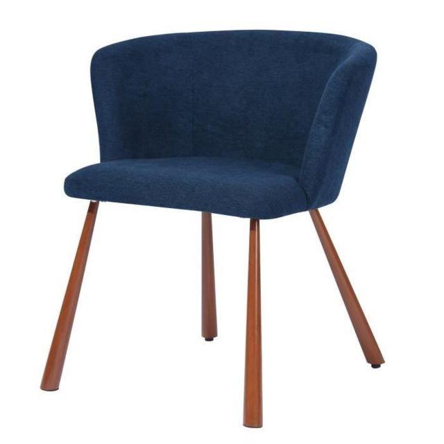 MARQUE GENERIQUE FAUTEUIL LINDY Fauteuil style contemporain - Tissu bleu nuit - Piétement métallique - L 51,5 x P 55,5 x H 72 cm