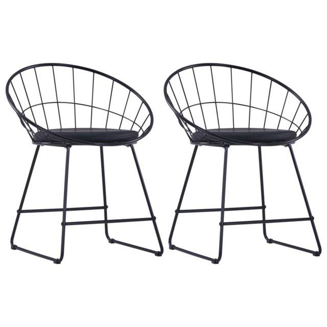 sublime Fauteuils et chaises categorie Oslo Chaises de salle à manger Siège en similicuir 2 pcs Noir Acier