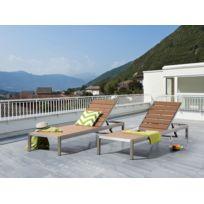 Beliani - Transat de jardin en aluminium - chaise longue marron - Nardo