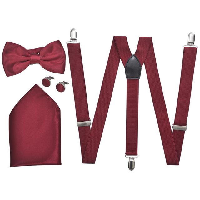 Vidaxl Set de bretelles et nœud papillon Cravate noir/Tuxedo Bordeaux