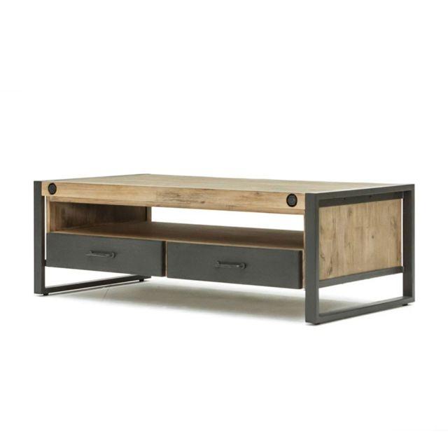 Tousmesmeubles Table basse 2 tiroirs - Brooklyn