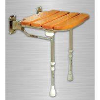 Akw - Siège de douche à lattes en bois de caoutchouc rabattable Série 4000 accessibilité Pmr