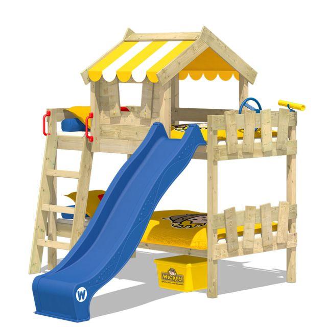 WICKEY Lit superposé CrAzY Circus Lit en bois pour enfants avec toboggan - jaune et bleu