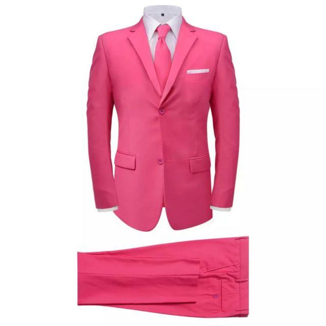 MARQUE GENERIQUE Chic Vêtements gamme Le Caire Costume pour hommes avec cravate 2 pièces Rose Taille 46