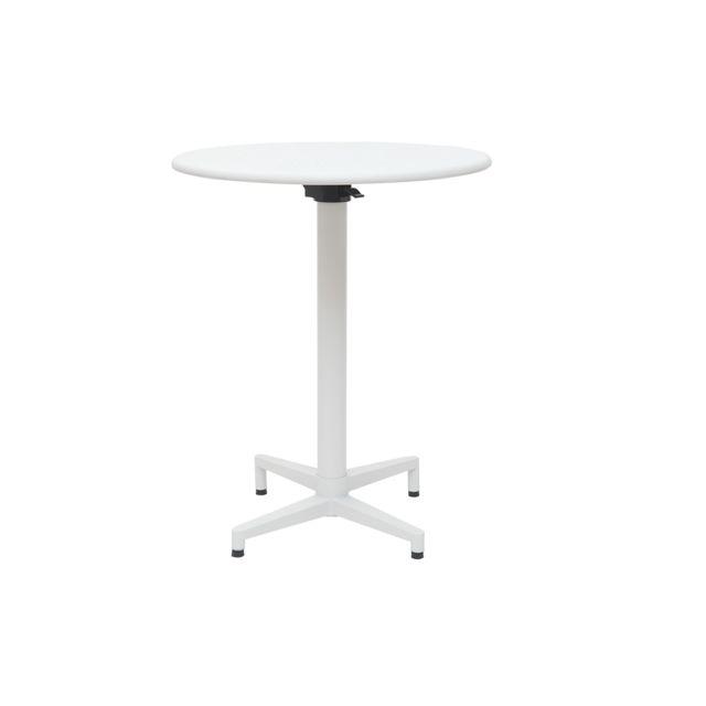 Miliboo Table pliante ronde en métal blanc D60 cm Dots