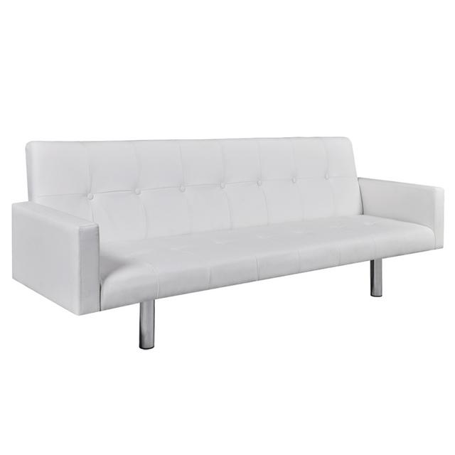 Vidaxl Canapé lit en cuir artificiel blanc avec accoudoirs