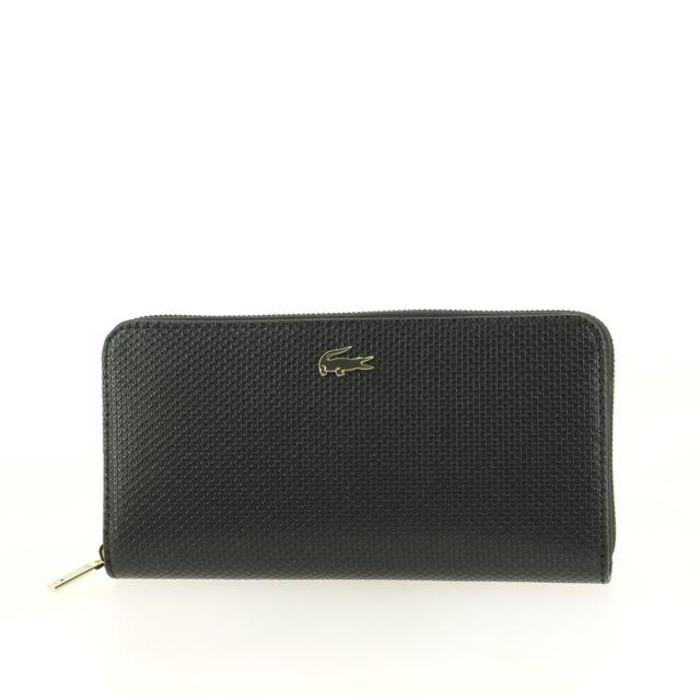 aa873c1719 Lacoste - Portefeuille zippé Chantaco en cuir piqué Noir - pas cher Achat /  Vente Portefeuilles - RueDuCommerce