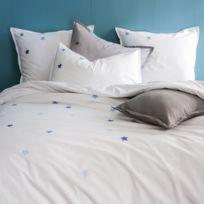 Matt&Rose - Taie d'oreiller 100% coton borderies étoiles contrastées Douce Nuit