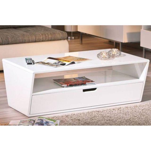 Inside 75 Table basse Neomi blanche avec un tiroir et une niche